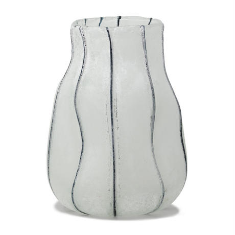 Watery white glass vase round L 682212