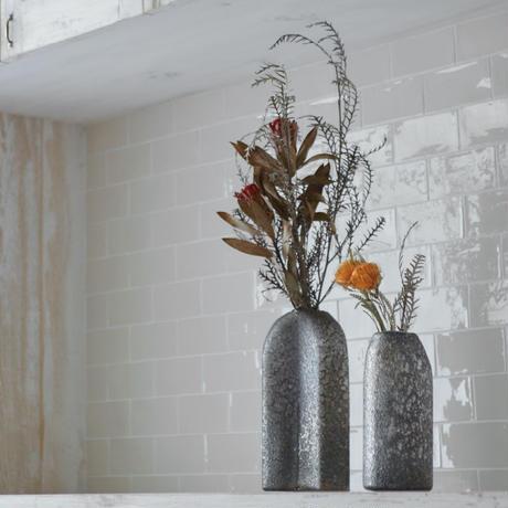 Monika grey dark glass vase high oval small hole L 683935