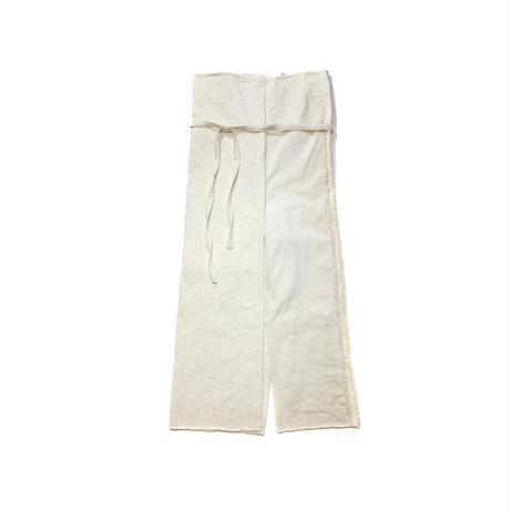 NANuA / HAND EMBROIDERY LINEND WRAP PANTS