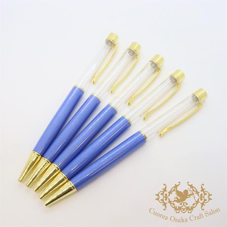 19:ハーバリウムボールペン単体 マリンブルー×GO 5本組