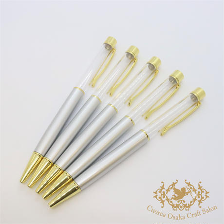 21:ハーバリウムボールペン単体 シルバー×GO  5本組