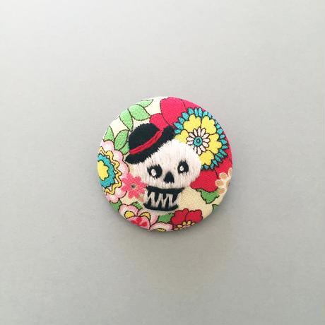 Rock Skull 刺繍バッチ(おまけde缶バッジ)