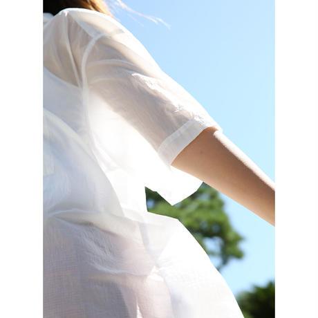 Washed Nylon Sheer S/S Shirt (WHITE)