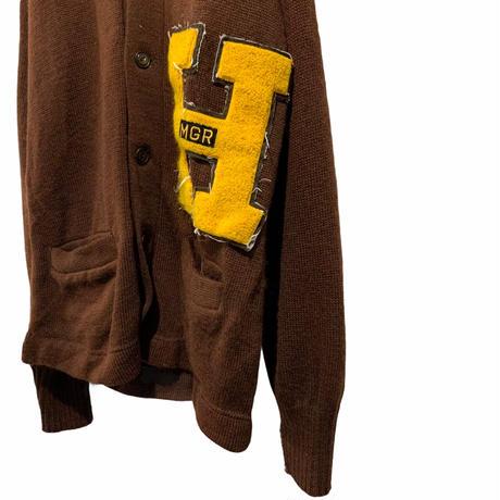 60's  vintage lettered cardigan brown