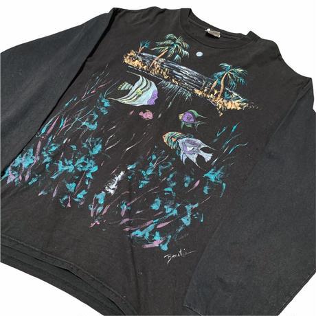 90's USA製 FISH PRINT L/S TEE