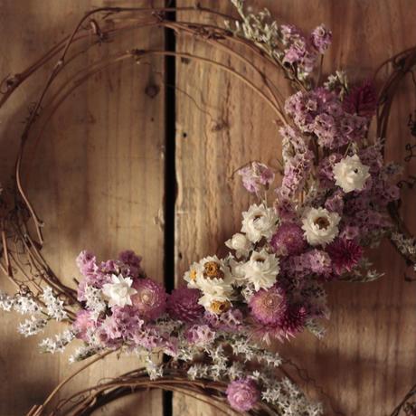 cassis pink ドライフラワーリース