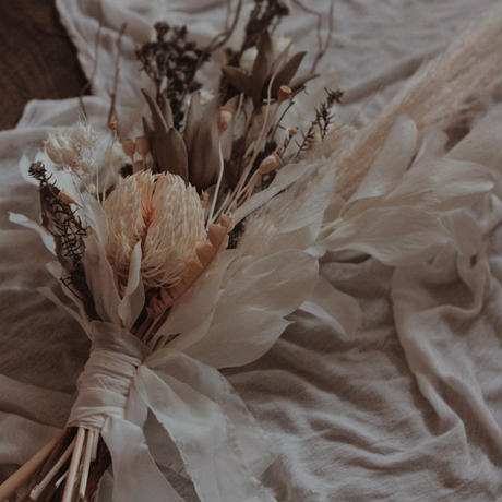 White grayish grass bouquet