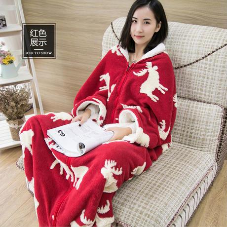 全3色 着る毛布 暖かい 冬 トナカイ柄 ブランケット 毛布 部屋着 ふわふわ 寒さ対策 F 23698