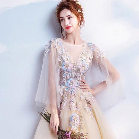 bccfb95772334 ... 大きいサイズ ウエディングドレス ロング 花嫁ドレス 刺繍 結婚式 パーティードレス 優雅 XS-4L ...