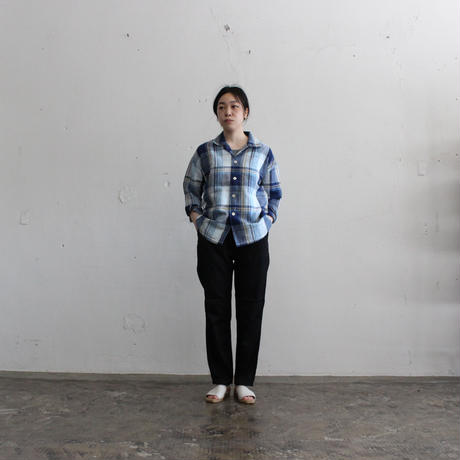 OMNIGOD_綿麻チェックボックスシャツ1women/【56-0337X】
