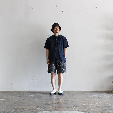 OMNIGOD_リネン半袖スタンドカラーシャツmen/【56-0333X】