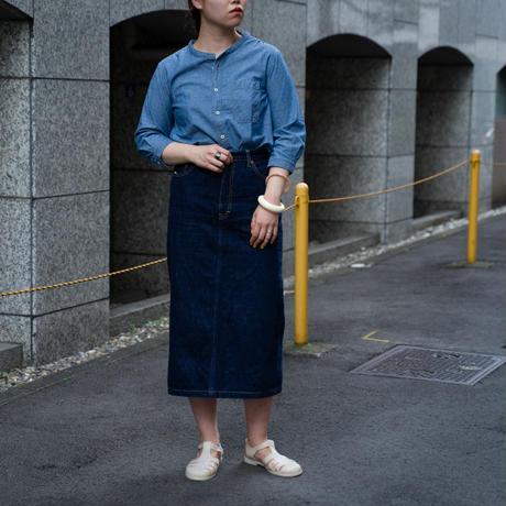 OMNIGOD_シャンブレー 7分袖スタンドカラーシャツ/ladies【56-0881X】