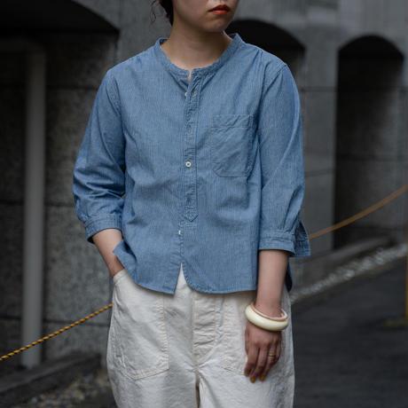 OMNIGOD_インディゴビンストライプ 7分袖スタンドカラーシャツ/ladies【56-0883X】