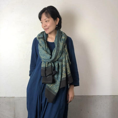 バグルーハンドブロックプリント大判ストール〜アジュラック〜 D