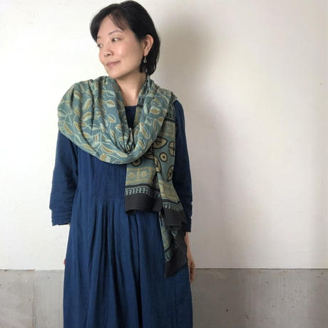 バグルーハンドブロックプリント大判ストール〜アジュラック〜 B