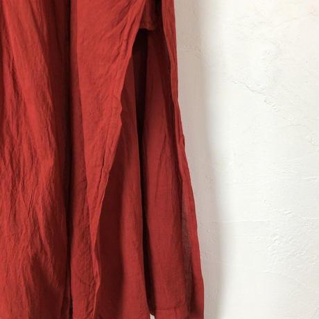 ルクツル のピンタック羽織ーオーガニックコットン薄手ージャイプールレッド