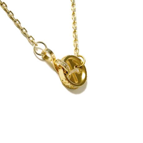ONECC INTERLOCKING GOLD PLATED LOGO NECKLACE