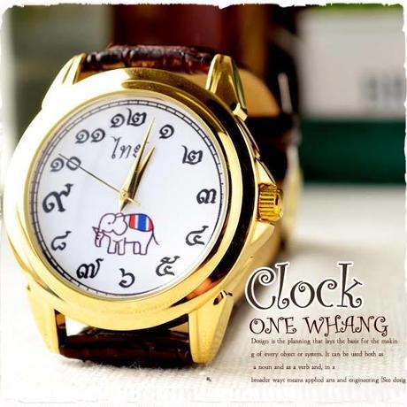 タイ文字腕時計【sak10】高級キャメロットタイ文字ロゴがおしゃれアナログ時計レザーバンド 色はシャンパンゴールドでカジュアル個性的で派手め!メンズレディース兼用エスニックファッション