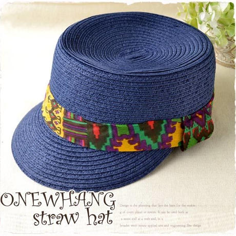 ネイビーケピ帽 注目のマリンキャップ !ストローハット 青かわいいネイビーカラー帽子!注目の ハット♪夏の麦わら帽子!