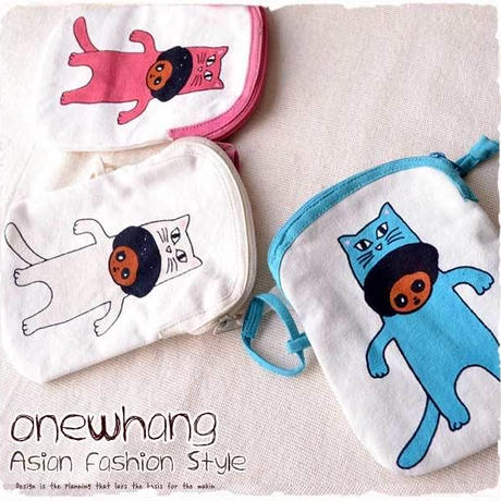 アジアン民族ポーチ【tk213】アフロボーイ猫バージョン!かわいい化粧ポーチ