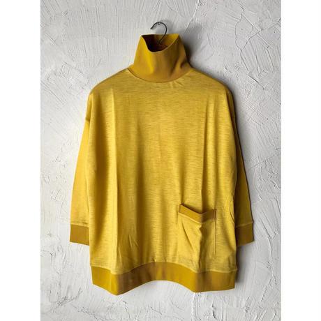 【WOMEN'S】THE FACTORY ウールメランジハイネックポケット付きカットソー(Mustard/Pink/Brown/Gray)