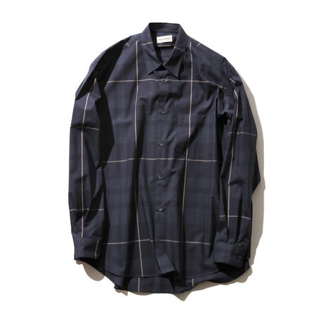 FACTOTUM 大判CHECKワイドシャツ(NAVY)