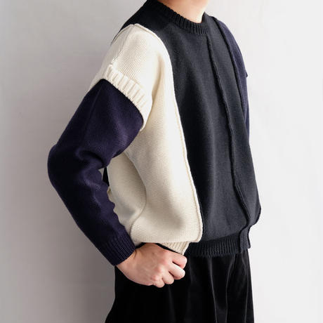 DISCOVERED PATCH WORK KNIT(BLACK×NAVY×WHITE×PURPLE)