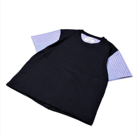 DISCOVERED STRIPED T-SHIRT(BLACK×BLUE)