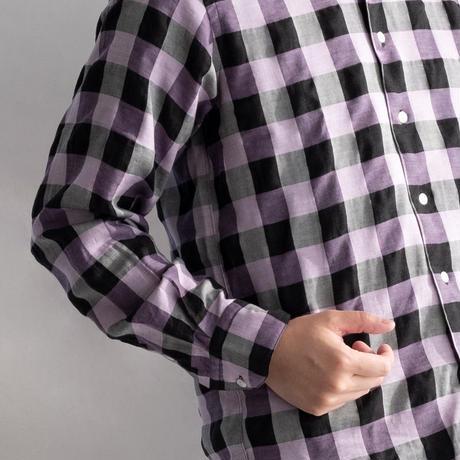 FEEL EASY ORIGINAL BLOCK CHECK TENCEL SHIRT(Purple)