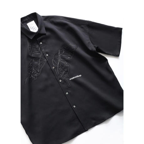 "SHAREEF ""BUTTERFLY"" S/S BIG SHIRTS(Black)"