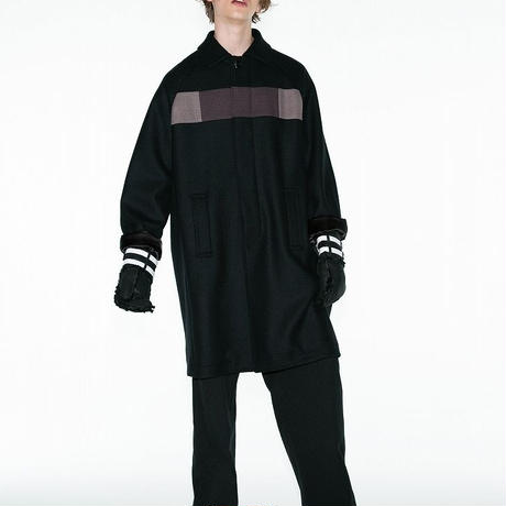 SHAREEF CASHMERE SOUTIEN COLLAR COAT(Black)