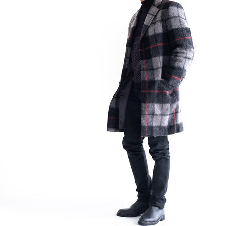 FEEL EASY ORIGINAL MADRAS CHECK MOHAIR CHESTER COAT(Charcoal)