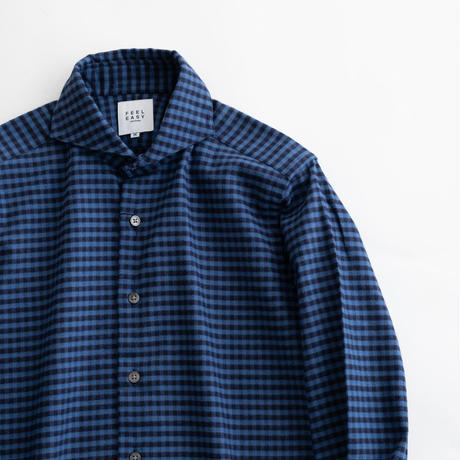 FEEL EASY ORIGINAL GINGHAM CHECK FLANNEL SHIRT(Blue×Navy)