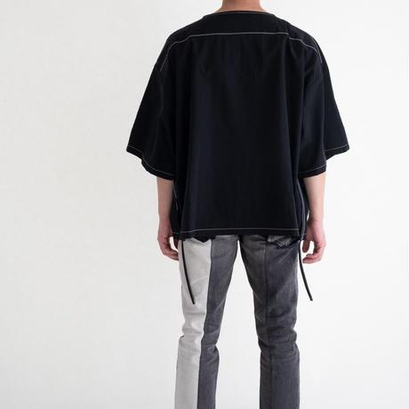 DISCOVERED Spondish Nylon White Stitch Pullover(BLACK)