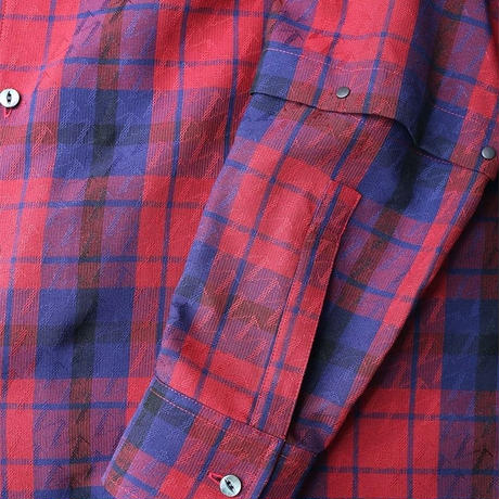 SHAREEF CHECK JACQUARD L/S SHIRTS(Red Check)