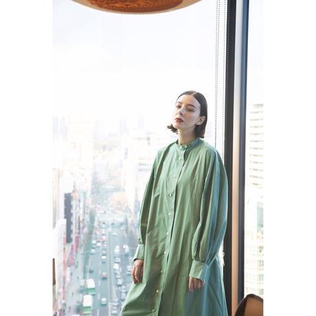 【WOMEN'S】THE FACTORY フロントボタンコットンシルクワンピース(Herb Green)