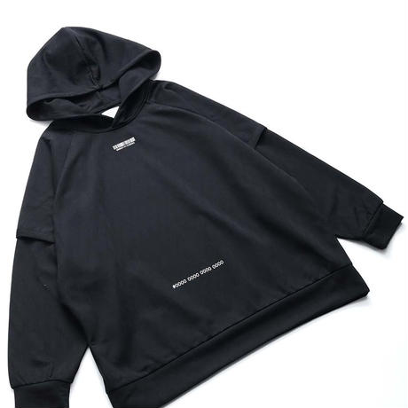 SHAREEF GEOMETRIC PATTERN LAYERED HOODIE(Black)