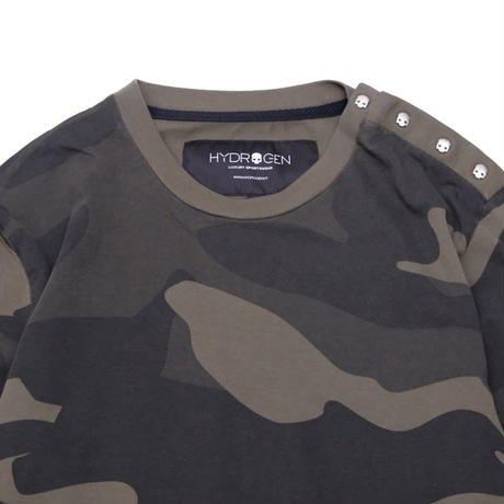 HYDROGEN MILITARY FITNESS T-SHIRT LS(GREEN CAMOUFLAGE)