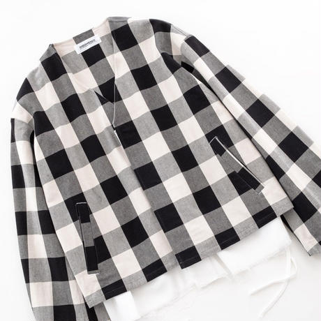 DISCOVERED Buffalo Check Twill Cotton Shirt Blouson(WHITE)