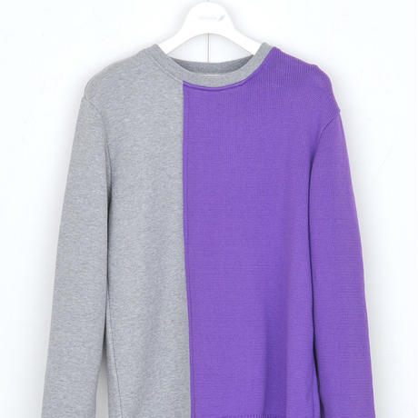 DISCOVERED R/L SWEAT KNIT(VIOLET×GRAY)