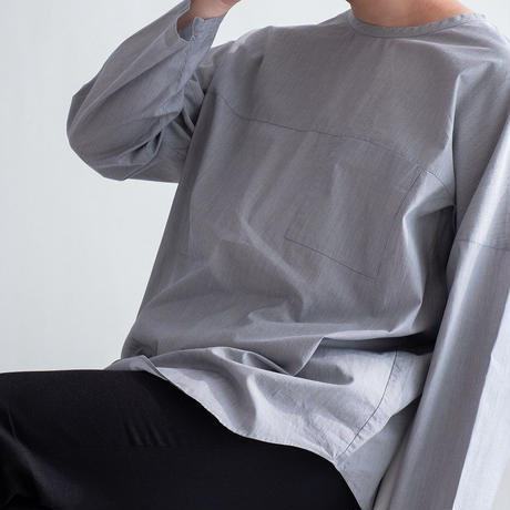nuterm Crew-Neck Woven Tee(Hairline Stripe)