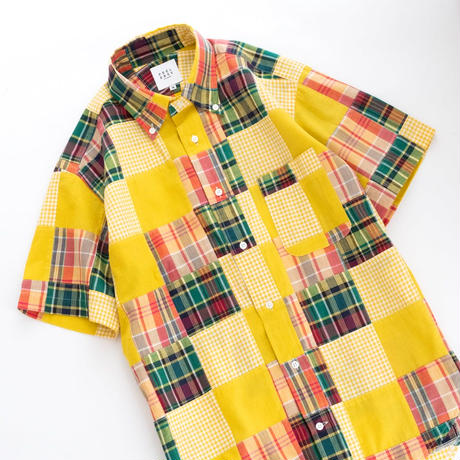 FEEL EASY ORIGINAL INDIA MADRAS CHECK S/S B.D SHIRT(Yellow)
