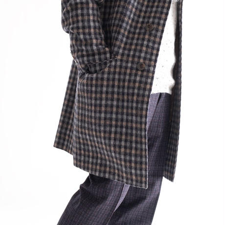 FEEL EASY ORIGINAL CHECK ALPACA CHESTER COAT(Brown)