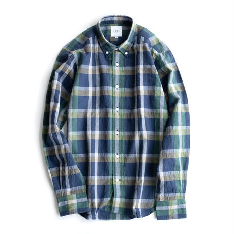 FEEL EASY ORIGINAL LINEN CHECK B.D SHIRT(Navy×Green)