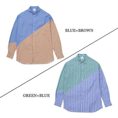 MISTERGENTLEMAN BIAS CUT STRIPE MODERN SHIRT(BLUE×BROWN)