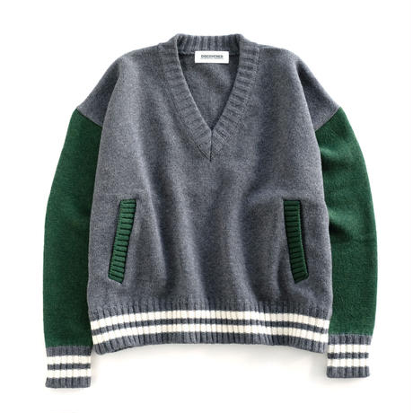 DISCOVERED STADIUM KNIT(GRAY×GREEN)