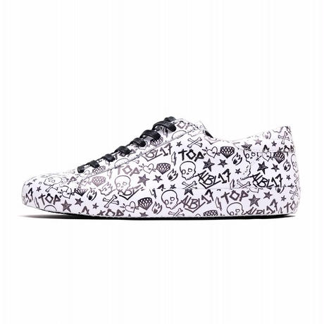 HYDROGEN ALLOVER LEATHER SNEAKERS(WHITE×BLACK)