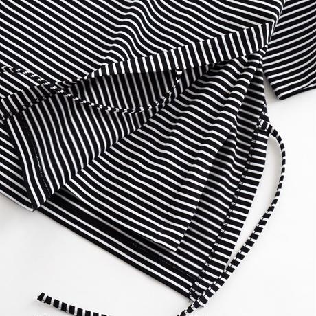 DISCOVERED Derabe Jersey Baskborder Layered Tee(BLACK×WHITE)