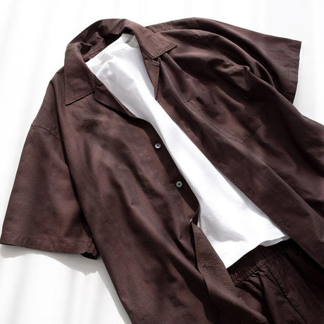 """nuterm """"Willie"""" Open Collar S/S Shirts(Brown)"""