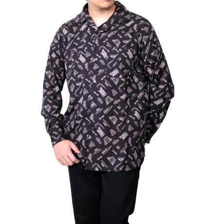 FACTOTUM 総柄プリントオープンカラーシャツ(BLACK)